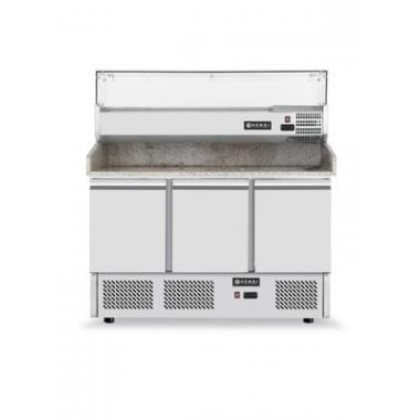 Masa frigorifica cu 3 usi, pentru pizza, cu vitrina ingrediente cu 6 tavi GN 1/4, 270+170 W, 140x70x(H)144.5 cm