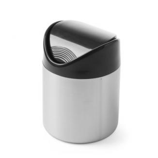 Cos pentru gunoi masa, otel inoxidabil cu capac din plastic negru