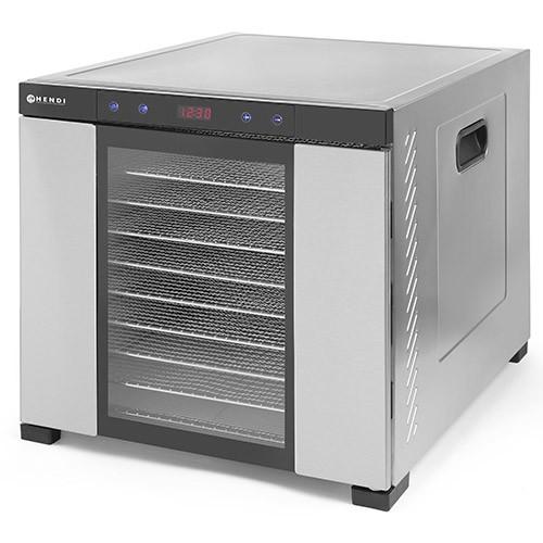 Deshidrator alimente cu 10 tavi, 1000 W, Hendi Profi Line, corp inox, temperatura reglabila 35-75 gr C, 61x56x(H)48 cm