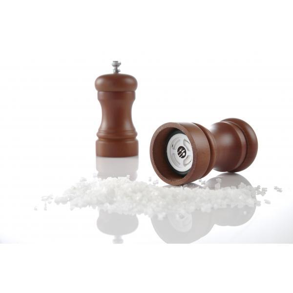 Rasnita sare, lemn culoare inchisa, (H) 100 mm, mecanism macinare ceramic, durabil, Hendi
