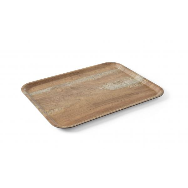 Tava servire 24x35 cm, din melamina, aspect de lemn stejar maro, Hendi