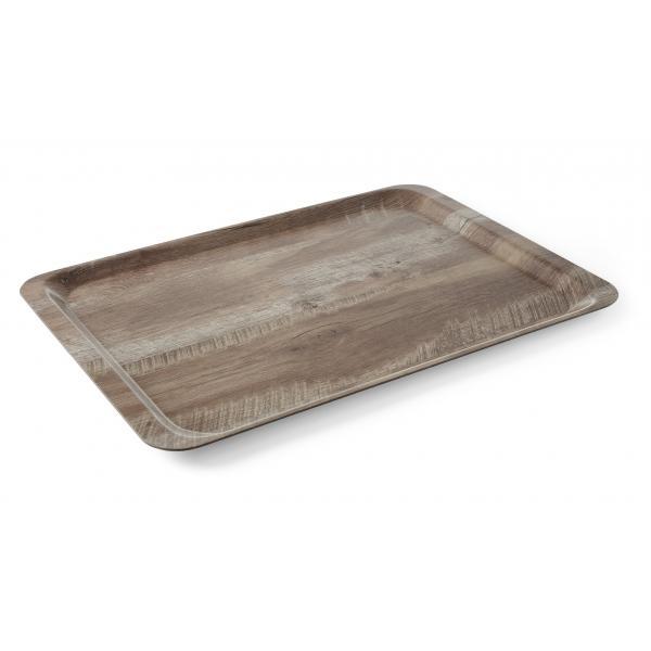 Tava servire 24x35 cm, din melamina cu aspect de lemn stejar inchis, Hend