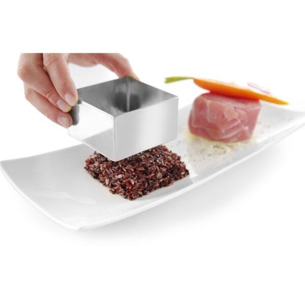 Forma patrata, pentru conturare prajituri si mancaruri 80x80x(H)45 mm, Inox, Hendi