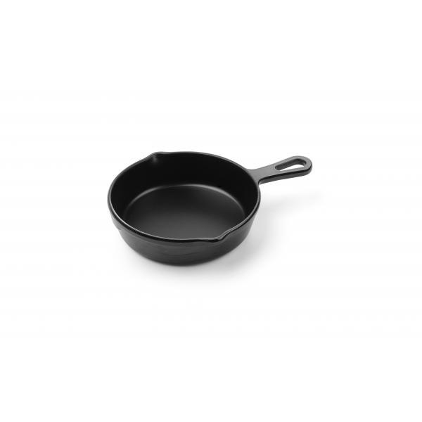 Bol servire, forma mini-tigaie cu maner,, 162x121x(H)30 mm, melamina neagra, Hendi Little Chef