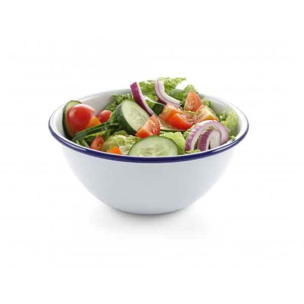 Bol salata emailata - oe160 mm, Alb/Albastru