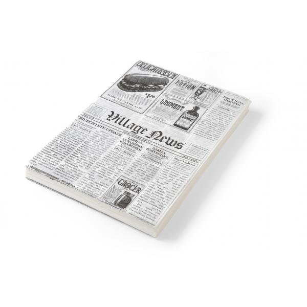 Set 500 foi hartie impermeabila grasime pentru servire cartofi prajiti / aperitive, Hendi, print tip ziar, 200x250 mm