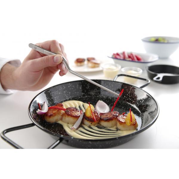 Penseta curbata, (L)210 mm, inox, pentru sushi / decorare / manevrare produse fierbinti, Hendi