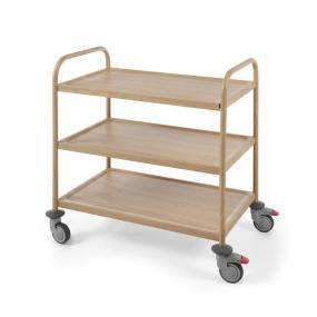 Carucior servire cu 3 rafturi, din inox cu aspect lemn stejar, sarcina un raft 50 kg, dimensiuni 910x590x(H)950 mm