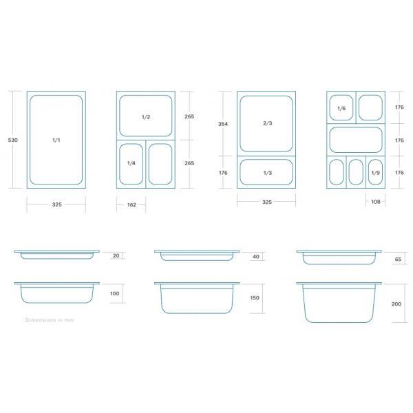 Vascheta gastronom din otel inoxidabil 1/3 GN, 100 mm, 325x176 mm