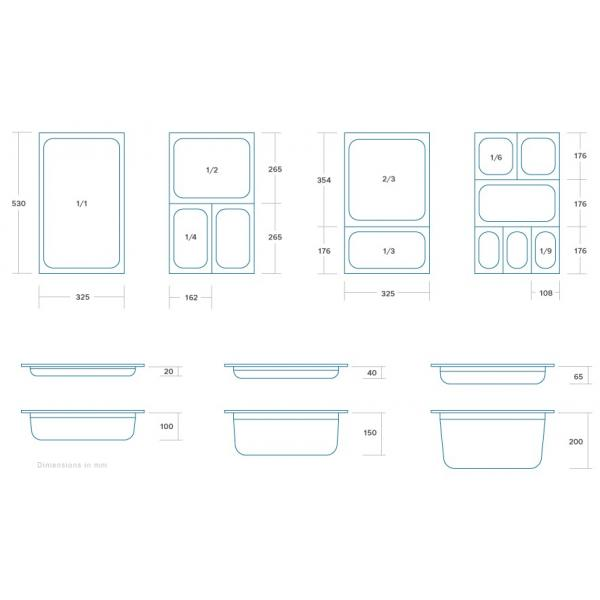 Vascheta gastronom din otel inoxidabil 2/3 GN, 20 mm, 325x354 mm